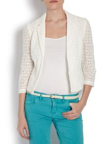 Cropped jacket with patterned lace