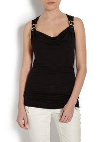 Sleeveless Top with Buckled Back Strap