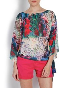 Loose-fit Patterned Top with Side Tie