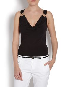 Strapless longline top with metal rings