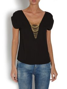 Chiffon look top with beaded detailing