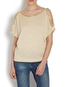 Relaxed fit top with cutaway sleeves
