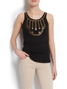 Vest top with patterned collar