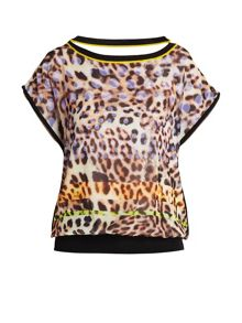 Leopard print loose-fitting blouse