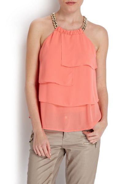 Morgan Chain halter draped blouse