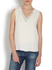 Sleeveless top with sequinned collar