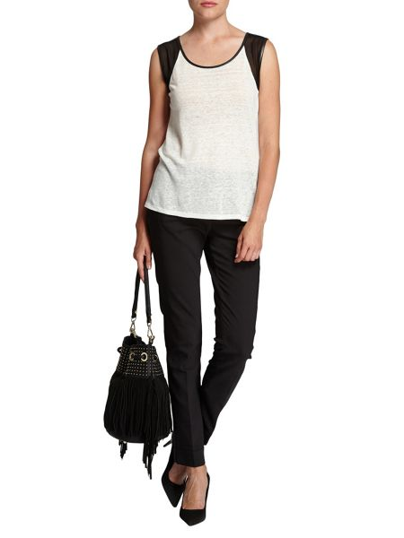 Morgan Contrasting mesh-sleeve vest top