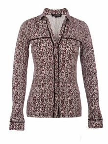 Morgan Leopard-print piped blouse