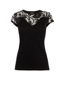 Patterned mesh-collar knitted top