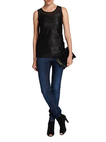 Morgan Glittery fabric and mesh vest top