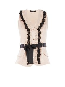 Ruffle-front buttoned top