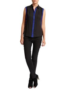 Morgan Contrasting-detail sleeveless blouse