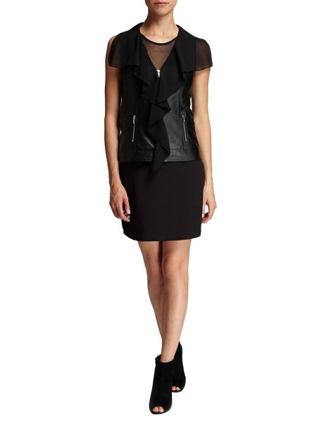 Morgan Leather-look chiffon ruffle-front top