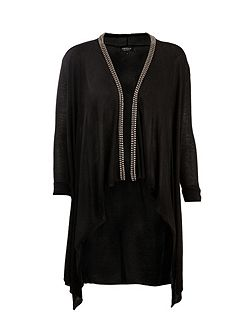 Beaded-collar waterfall cardigan