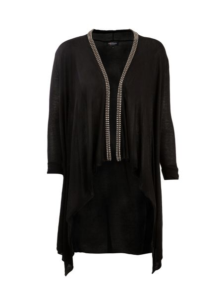 Morgan Beaded-collar waterfall cardigan