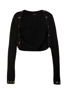 Morgan Eyelet-detail cropped cardigan