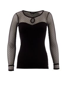 Mesh-sleeve bustier-style top