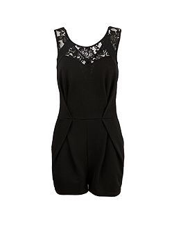 Morgan Patterned lace insert short playsuit