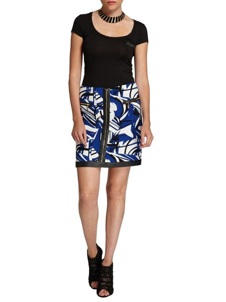 Morgan Graphic-patterned zipped skirt