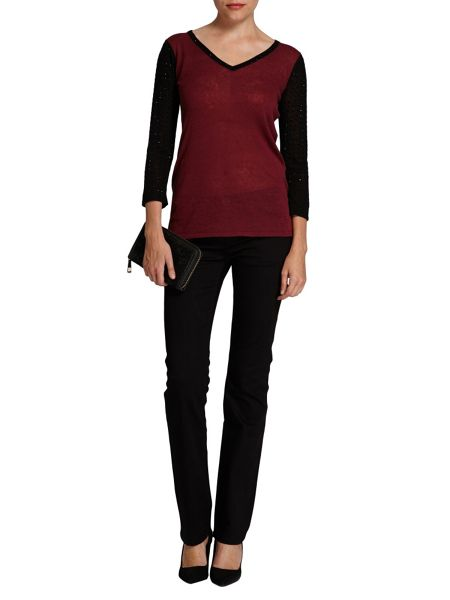Morgan Studded-sleeve two-tone top