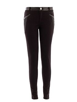 Slim-fit leather-look detail trouser