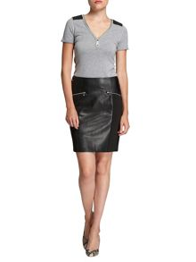 Leather-look zipped-detail skirt