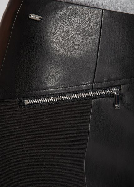 Morgan Leather-look zipped-detail skirt
