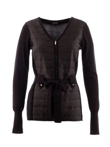 Zip-front quilted-look sweater