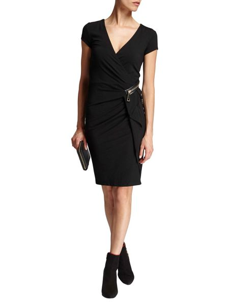 Morgan Zip-detail gathered pencil dress