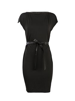 Zipped detail and waist-tie shift dress