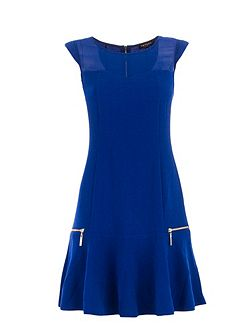 Zipped-detail flared dress