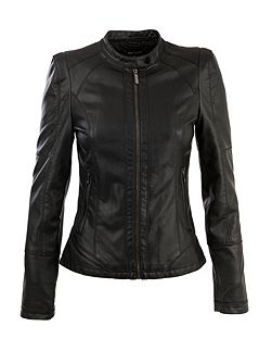 Morgan Biker-style leather-look cropped jacket