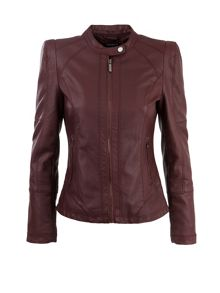 Biker-style leather-look cropped jacket
