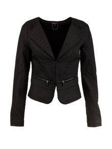 Morgan Embossed-detail cropped jacket