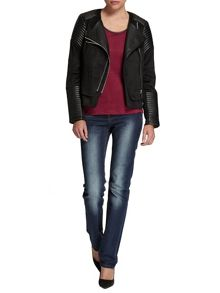Biker leather and suede-look jacket