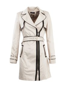 Contrasting-piping trench coat