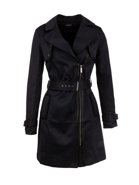Morgan Contrasting-piping trench coat
