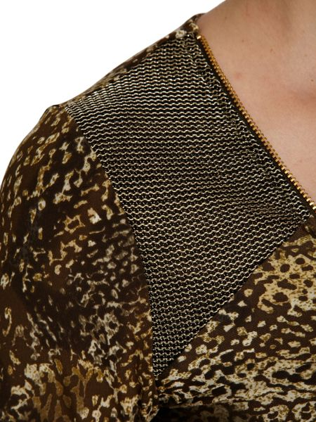 Morgan Mesh-shoulder animal-style-print dress