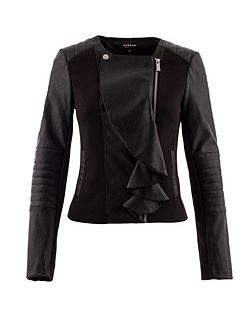 Leather-look ruffle-front jacket
