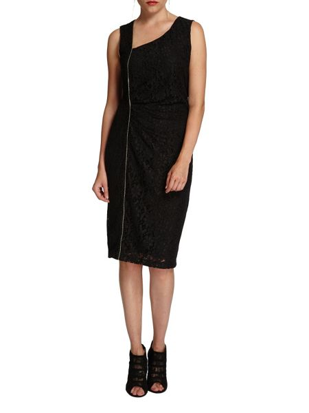 Morgan Asymmetric-zip lace overlay dress