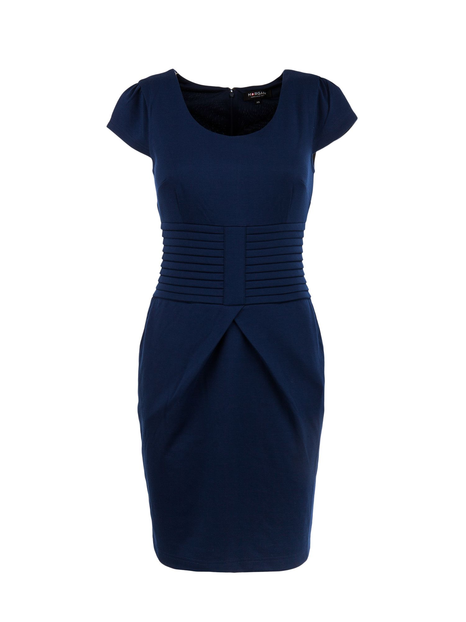 Morgan Fitted waistband-detail dress, Blue