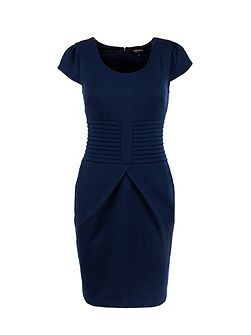 Fitted waistband-detail dress