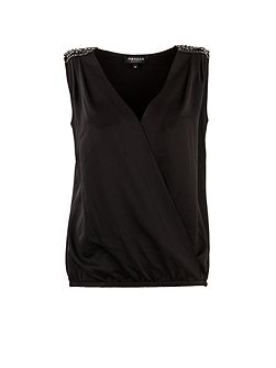 Studded-shoulder wrapover-front top