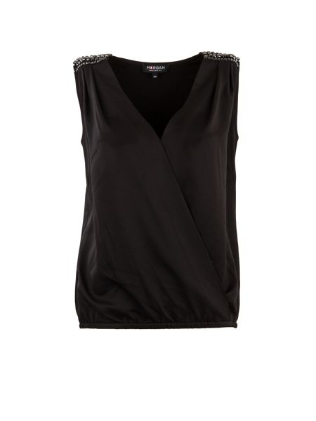 Morgan Studded-shoulder wrapover-front top