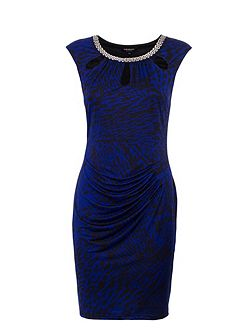 Cut-out-detail patterned pencil dress