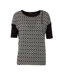 Morgan Zipped-detail geometric-print top
