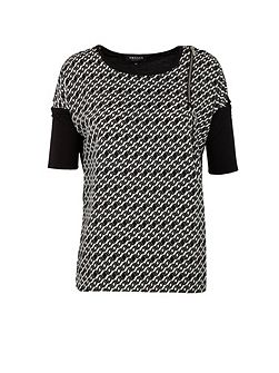 Zipped-detail geometric-print top