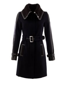 Morgan Knitted-collar belted coat
