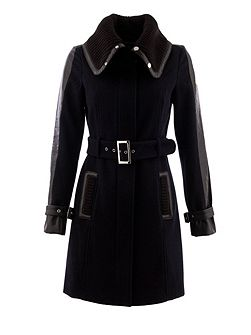 Knitted-collar belted coat