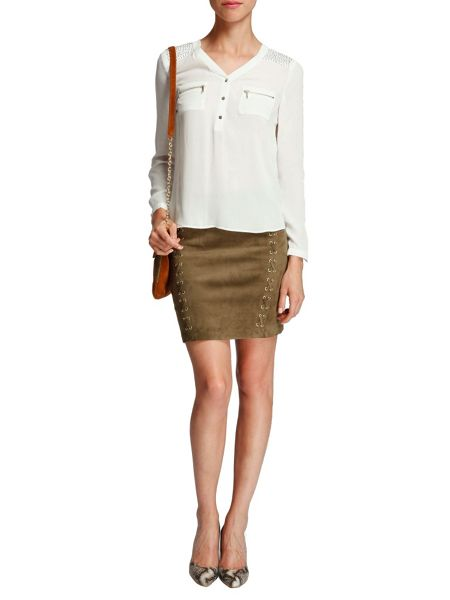 Morgan Blouse-style studded-shoulder top